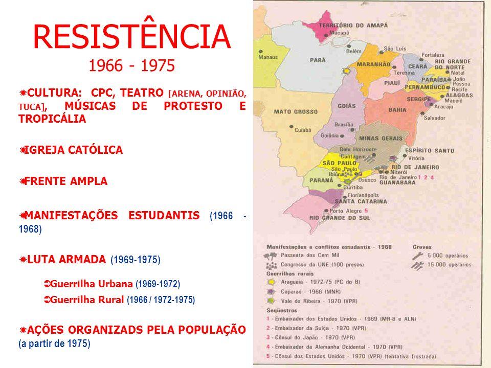 RESISTÊNCIA 1966 - 1975 CULTURA: CPC, TEATRO [ARENA, OPINIÃO, TUCA], MÚSICAS DE PROTESTO E TROPICÁLIA.